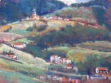 Painted from a hilltop overlooking Gernika with a distance church.